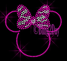 PINK Outlined Minnie - Zebra Bow - Iron on Rhinestone Transfer Bling Hot... - $7.99