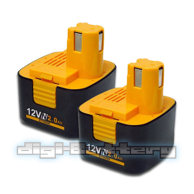 TWO BATTERIES For PANASONIC 12V Power Tool EY9106 EY9200 EY9201 NiCd BATTERY X2
