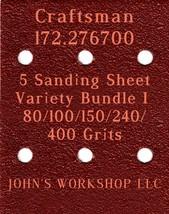Craftsman 172.276700 - 80/100/150/240/400 Grits - 5 Sandpaper Variety Bundle I - $7.53