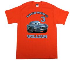 Cars Finn McMissile Personalized Orange Birthday Shirt - $16.99+