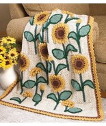 W636 Crochet PATTERN ONLY Sunflowers Lap Afghan... - $7.45