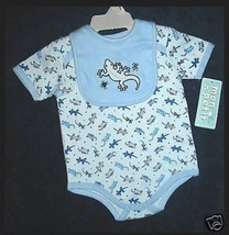 BOYS 3-6 OR 6-9 MONTHS - Mon Petit - Geckos & Bugs on Blue BIB & BODYSHI... - $5.99