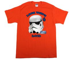 Star Wars Stormtrooper Personalized Orange Birthday Shirt - $16.99+