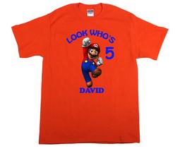 Super Mario Personalized Orange Birthday Shirt - $16.99+