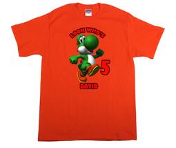 Super Mario Yoshi Personalized Orange Birthday Shirt - $16.99+