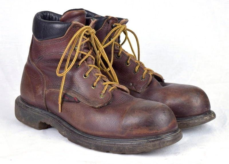 758d0e1bc53 Vtg 90s RED WING SHOES Brown Leather Steel and 50 similar items. 57