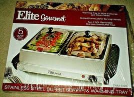 ELITE GOURMET (5) QT STAINLESS STEEL BUFFET SERVER & WARMING TRAY NIB - $44.51