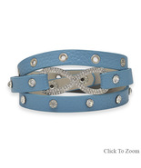 Blue Leather Bracelet with Silver Tone Crystal ... - $24.99