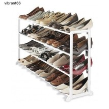 20 Pair Shoe Rack Organizer 4 Tier Shoe Boot Sandal Closet Storage - $724,27 MXN