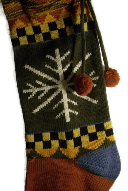 Christmas Stocking Hand Knit Primitive Country Style Holiday Decorations