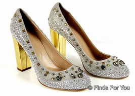 J Crew Collection Etta Crystal And Stud Pump Sz 8 Style 02043 $428 Gray New - $241.69