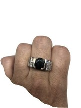 Vintage Black Onyx White Sapphire Ring 925 Sterling Silver Cocktail Size... - $133.65