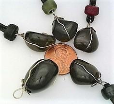Apache Tear Obsidian Nugget Wire Wrap Pendant - $10.89