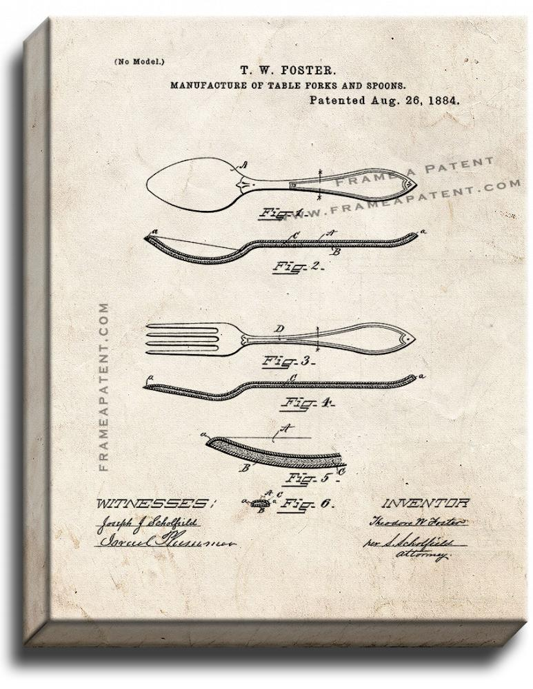 Primary image for Table Forks And Spoons Patent Print Old Look on Canvas