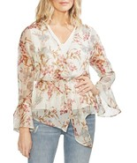 Vince Camuto Top Blouse Flutter Cuff Wildflower Cinch Floral Sz L NEW NW... - $38.15