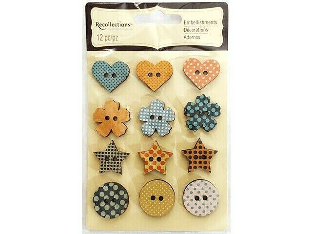 Recollections Sticky Back 2-Hole Button Embellishments, 12 Count