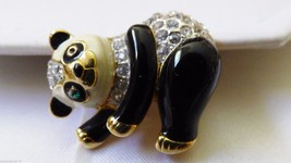 Gold tone metal Clear Crystal stones black enamel Panda Bear pin brooch - $27.72