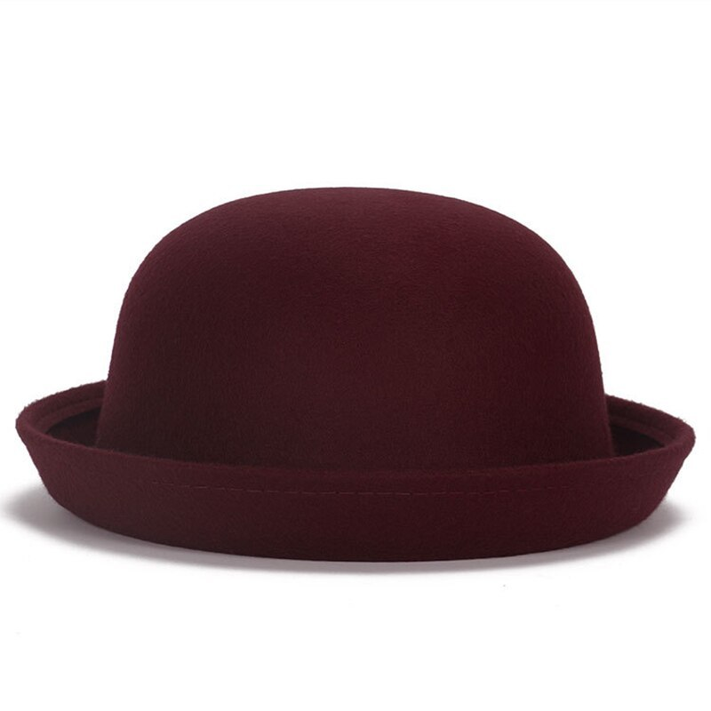 Vintage Wool Winter Hats For Women Ladies Fashion Bowler Derby Fedora Cap Floppy image 5