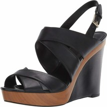New Michael Kors Black Leather Platform Wedge Sandals Pumps Size 8 M $140 - $174.99