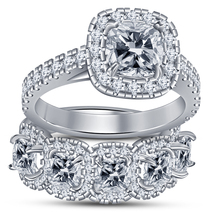 White Gold Plated Pure 925 Silver Bridal Engagement Ring Set Cushion Cut... - $101.99