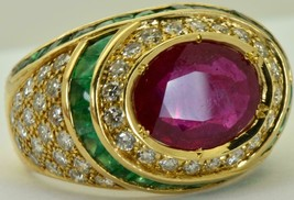 ONE OF A KIND Art-Deco Lacloche 1.8ct Diamonds,2.6ct Ruby&2.9ct Emeralds ring - $12,000.00