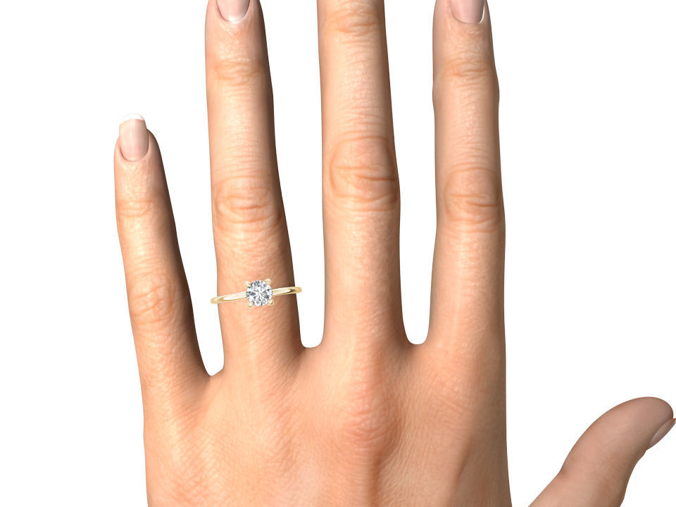 IGI Certified Solid 14k Yellow Gold 0.75 Ct Diamond Solitaire Engagement Ring