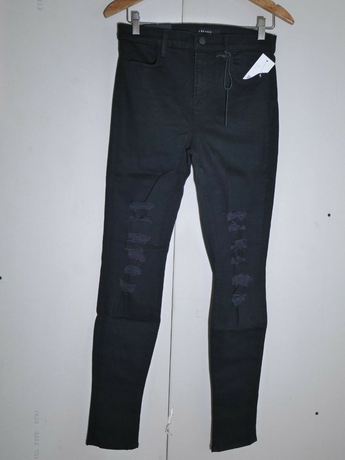 $198 NEW J Brand Maria - High Rise Skinny in Black Heart Destroyed - Size 29 image 2