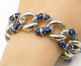 HIDALGO 925 Silver - Vintage Blue Enamel Decorated Large Chain Bracelet ... - $372.22