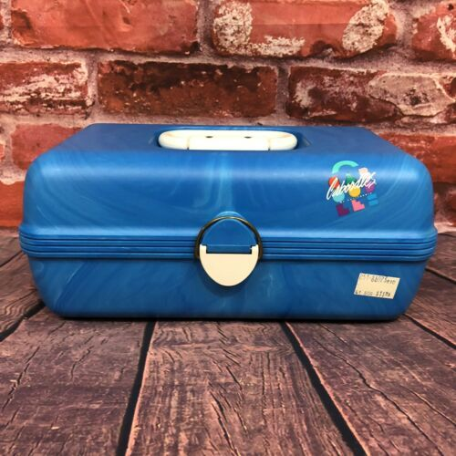 Vintage Caboodles Make Up Carrying Case #2602 Cosmetics Storage Blue Marbled  - $25.00