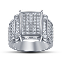 925 Pure Sterling Silver 14k White Gold Finish Round Cut CZ Engagement Band Ring - $121.48