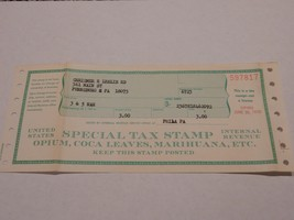 "Special Tax Stamp - OPIUM, COCA LEAVES, MARIHUANA, ETC. Pharmacy IRS ""1970"" - $38.99"