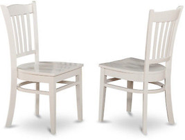 Casual Country Wooden Seat Dining Side Chair Traditional White Slat Back... - $155.37