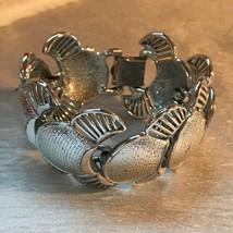 Vintage CORO Signed Wide Silvertone Swirl Crescent Link Bracelet – marked on bac - $20.42