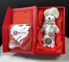 HSN Cares 2015 Swarovski Elements White Designer Bear Ornament with box - $24.74