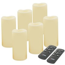 iZAN Set of 6 Outdoor Flameless Battery Operated LED Pillar Candles with... - $51.32