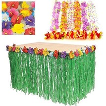 Luau Tropical Hawaiian Party Decoration Set Bundle Grass Skirt Flower 48... - $18.69