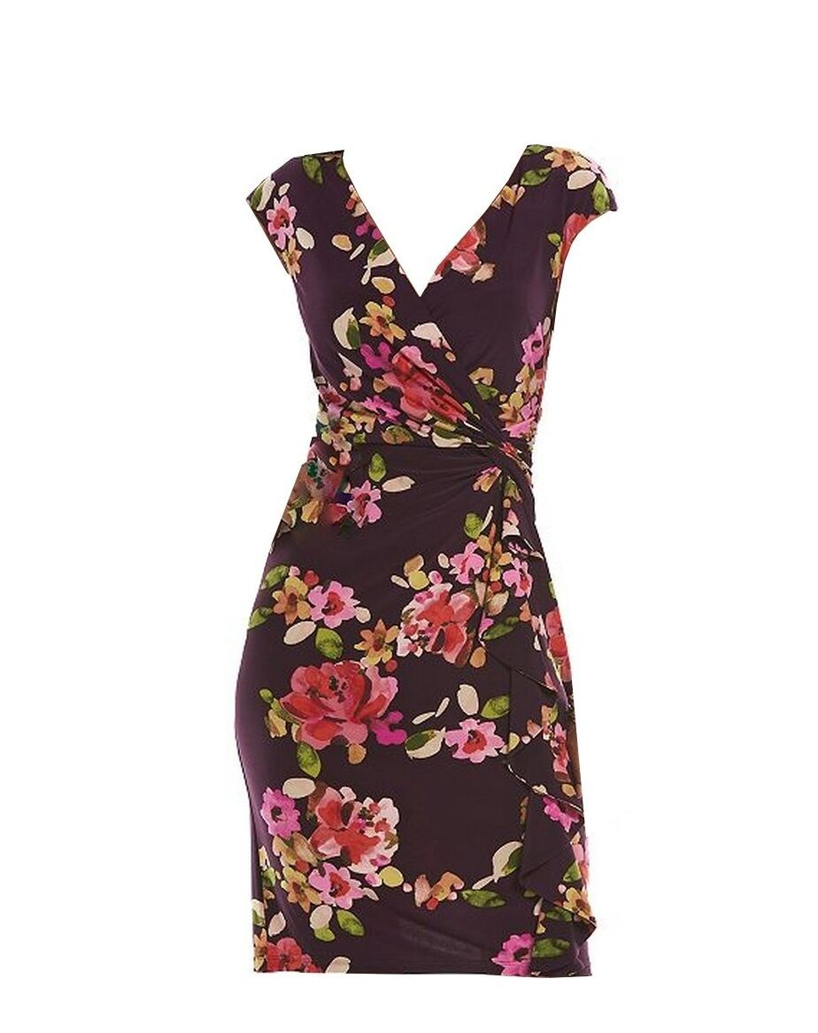 Primary image for Chaps by Ralph Lauren Womens Floral Ruffled Knot Front Surplice Sheath Dress S
