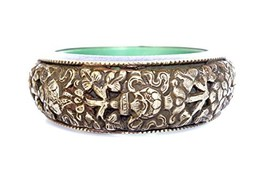 TIBETAN SILVER Oxidized Silver FINE Engraving by Hand Bangle Bracelet fo... - $85.13