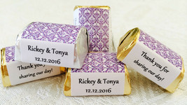 120 PURPLE DAMASK Personalized Candy labels/wrappers/stickers for wedding/party - $10.88