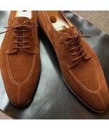 Mens Brown Suede Hand Stitch Split Toe Design Lace Up Dress Shoes - $156.73