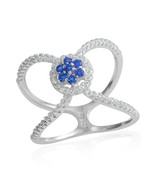Simulated Blue and White cubic zircons Double Open Band Ring in Sterling... - $22.28