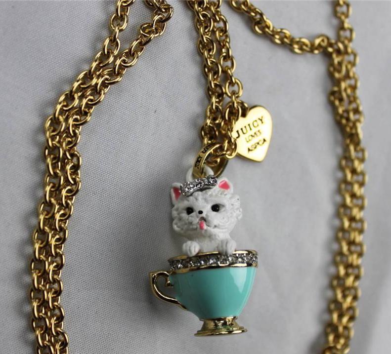 juicy couture yorkie dog charm necklace nib yjru7297