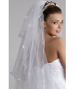 Wedding veil 3 layer waltz length in tulle w/embroidery   white  NWT - $11.55