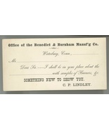 Benedict Burnham Waterbury CT Lindley Victorian business trade card bras... - $9.00