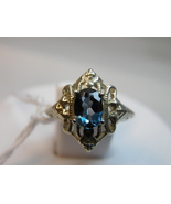 SALE Sterling Silver ring sz 6 London Blue Topaz 1.07ct Art Deco Nouveau... - $32.00
