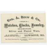 Drew Lewiston Maine Victorian business trade card watches clocks jewelry... - $18.00