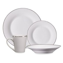 48 Piece Fine Porcelain China Platinum Banded  White Dinnerware Set Serv... - $299.99