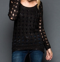 Black Sequin Sweater, Black Sequin Sweaters, Loose Knit Sweater, GeeGee, Womens image 4