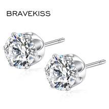 Classic Round Cubic Zirconia Stud Earrings Boucles Doreilles Pour Les Femmes Bij - $7.99