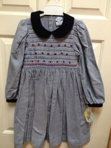 NEW Carriage Boutiques SMOCKED DRESS Navy Blue Houndstooth Flowers 4 6 NWT GIFT